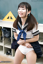 Sonoda Ayuri with skirt raised over her panties in uniform