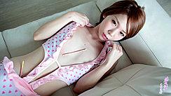 Japanese Teen Ryouko Lying On Couch Wearing Sleepwear Small Breasts