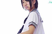 Kogal Nozomi Sucking Lollipop While Stripping Her Uniform