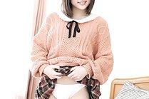 Cute short haired kogal Yuri Hyuga flashing her shaved pussy