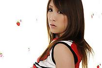 Teen cheerleader Yui Takashiro strips and bares big tits