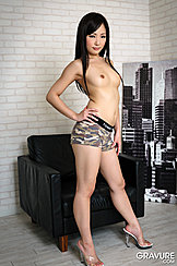 Standing In Front Of Chair Hand On Her Hip Small Tits Camo Panties Wearing High Heels