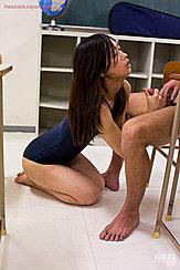 Kneeling On Classroom Floor Wearing Blue Swimsuit Long Hair Over Her Shoulder Yamada Reika Is Giving Handjob In Classroom