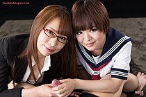 Tutor Kai Miharu Teaches Student Imai Meril To Give Handjob