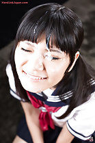 Kogal Mamiya Tsukushi smiling in uniform eyes closed cum over her face