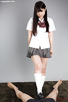 Student Iori Sana giving footjob in uniform long hair