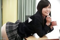 Yui Kasugano bending over school desk and showing her panties
