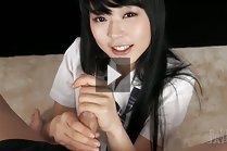 Student Kawagoe Yui on her knees giving handjob