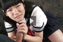 Pigtailed kogal Mamiya Tsukushi giving handjob in uniform